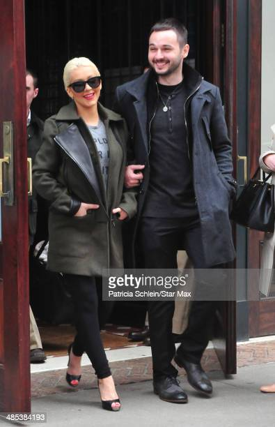 Christina Aguilera and Matthew Rutler are seen on April 17 2014 in New York City