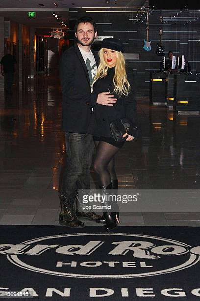 Christina Aguilera and Matthew Rutler visit Hard Rock Hotel San Diego on January 12 2012 in San Diego California