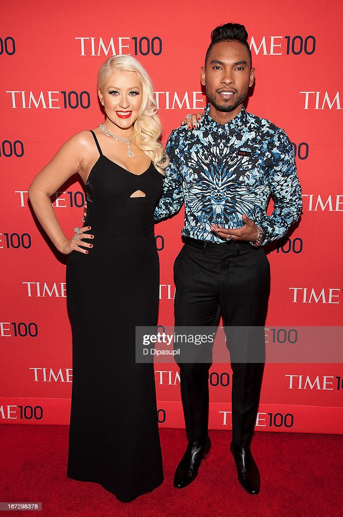 <a gi-track='captionPersonalityLinkClicked' href=/galleries/search?phrase=Christina+Aguilera&family=editorial&specificpeople=171272 ng-click='$event.stopPropagation()'>Christina Aguilera</a> (L) and Miguel attend the 2013 Time 100 Gala at Frederick P. Rose Hall, Jazz at Lincoln Center on April 23, 2013 in New York City.