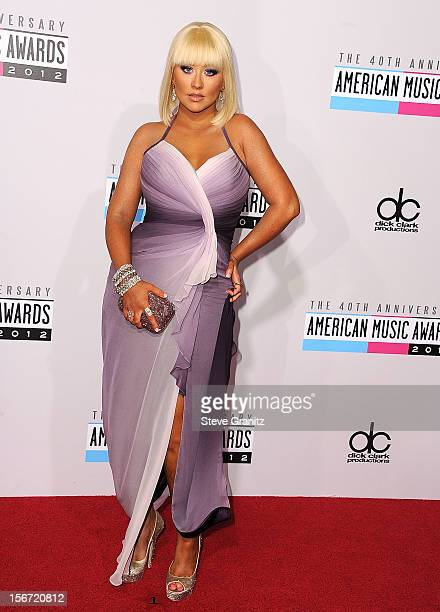Christina Aguilera arrives at the 40th Anniversary American Music Awards at Nokia Theatre LA Live on November 18 2012 in Los Angeles California