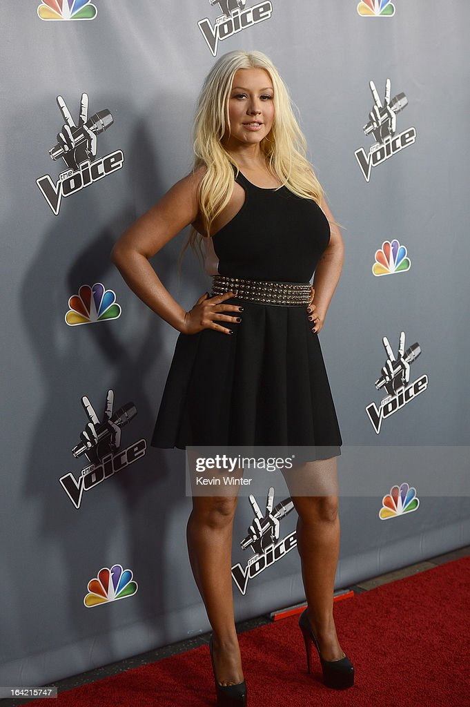 <a gi-track='captionPersonalityLinkClicked' href=/galleries/search?phrase=Christina+Aguilera&family=editorial&specificpeople=171272 ng-click='$event.stopPropagation()'>Christina Aguilera</a> arrives at the screening of NBC's 'The Voice' Season 4 at TCL Chinese Theatre on March 20, 2013 in Hollywood, California.