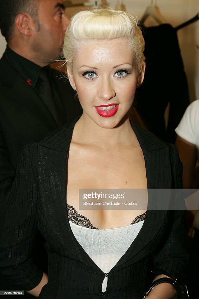 Christina Aguilera attends the Jean-Paul Gaultier 'Haute Couture' 2005-2006 Fall-Winter fashion collection.
