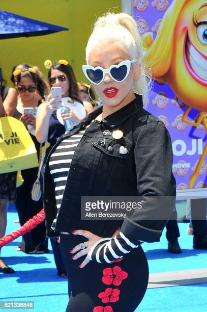 Christina Aguilera attends the premiere of Columbia Pictures and Sony Pictures Animation's 'The Emoji Movie' at Regency Village Theatre on July 23...