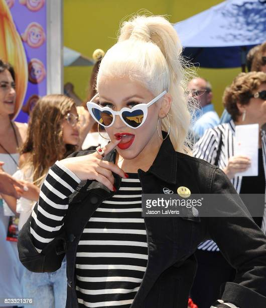 Christina Aguilera attends the premiere of 'The Emoji Movie' at Regency Village Theatre on July 23 2017 in Westwood California