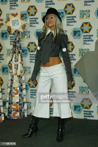 Christina Aguilera during 2002 MTV European Music Awards Press Room at Palau Sant Jordi in Barcelona Spain