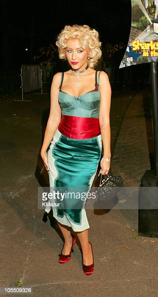 Christina Aguilera during 'Shark Tale' New York Premiere Arrivals at Delacorte Theatre Central Park in New York City New York United States