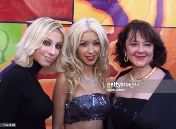 Christina Aguilera her sister Rachel and her mother Shelly Kearns arrive at the 1st Annual Latin Grammy Awards on Wednesday September 13 2000 at the...