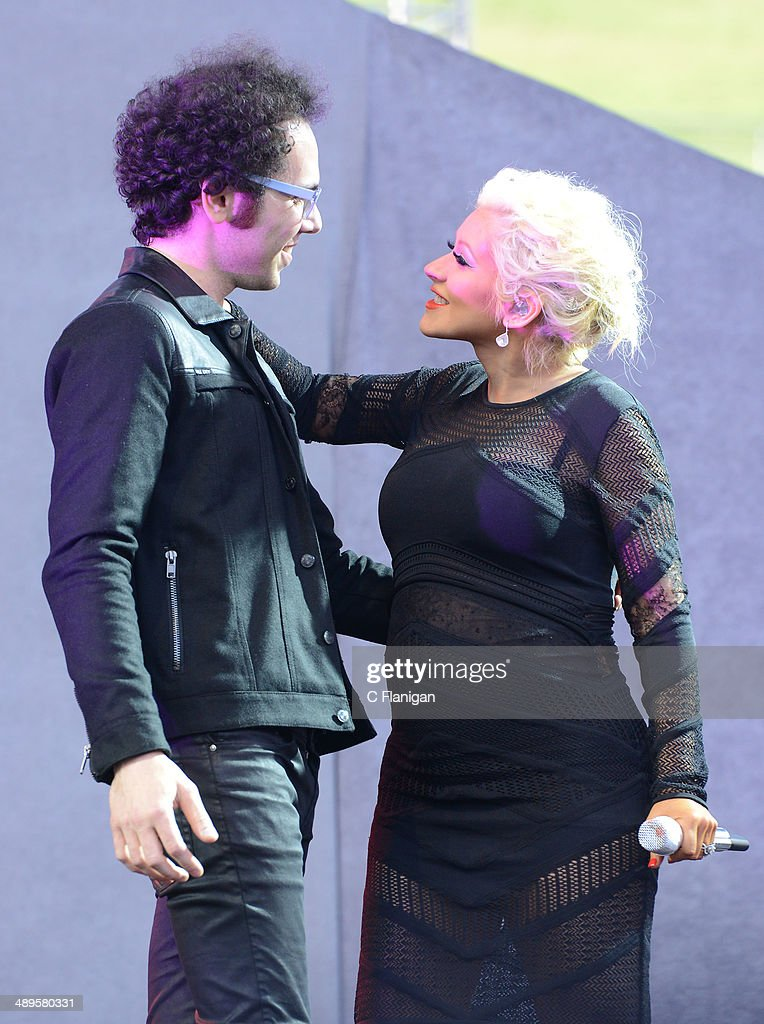 Christina Aguilera joins Ian Axel of A Great Big World onstage during the KIIS FM's 2014 Wango Tango at StubHub Center on May 10, 2014 in Los Angeles, California.