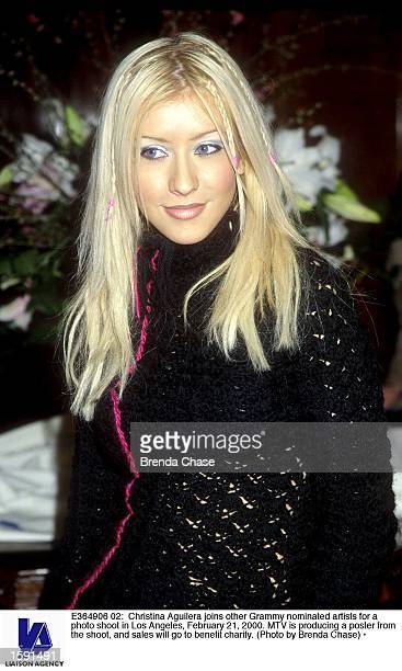 Christina Aguilera joins other Grammy nominated artists for a photo shoot in Los Angeles February 21 2000 MTV is producing a poster from the shoot...