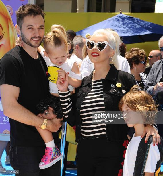 Christina Aguilera Matthew Rutler Max Liron Bratman and Summer Rain Rutler attend the premiere of 'The Emoji Movie' at Regency Village Theatre on...