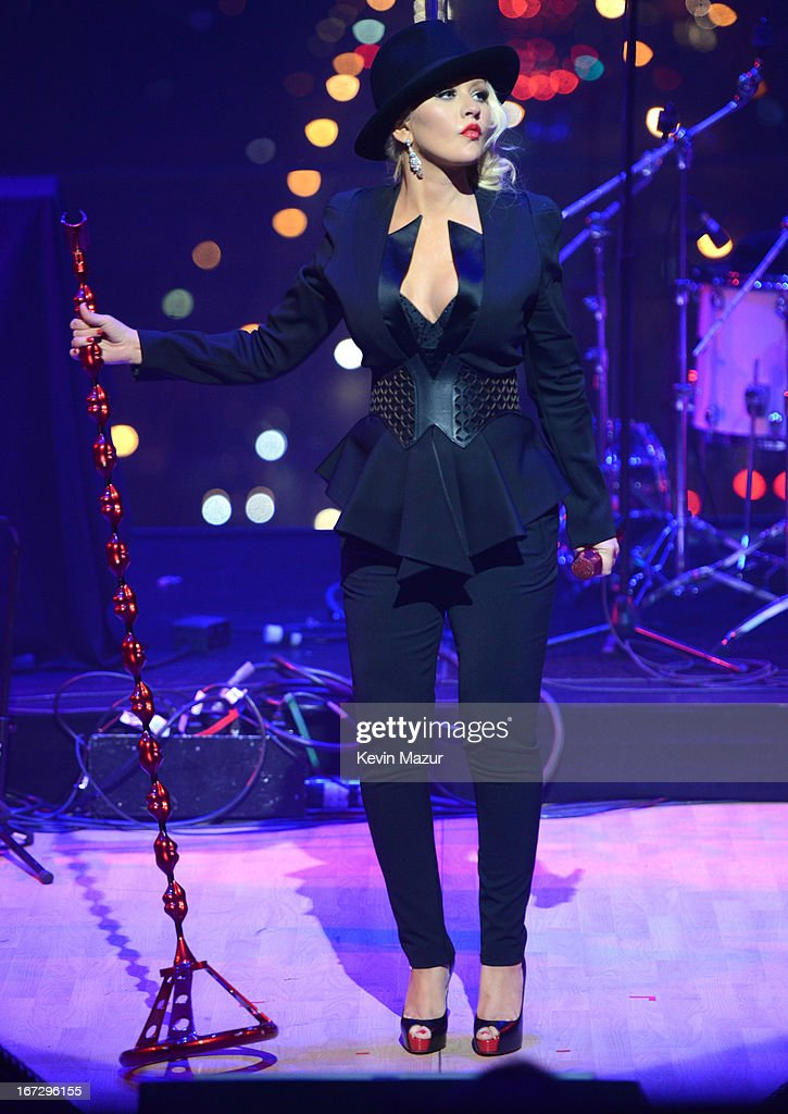 Christina Aguilera performs at the TIME 100 Gala TIME'S 100 Most Influential People In The World at Jazz at Lincoln Center on April 23 2013 in New...