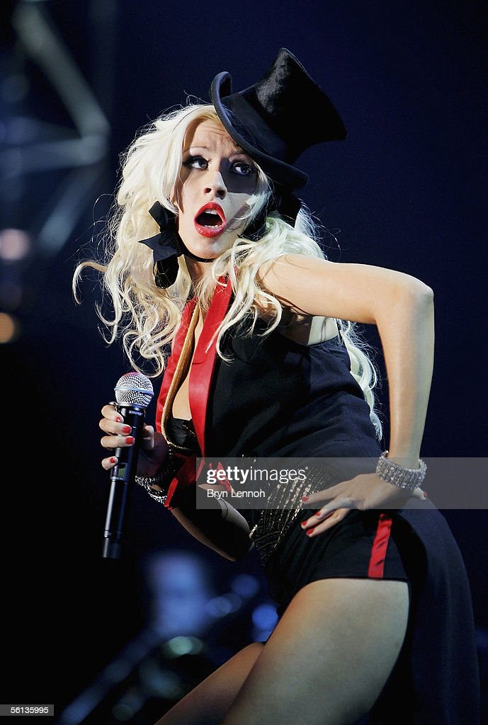 Christina Aguilera performs on stage at the Coca-Cola Dome on November 10, 2005 in Johannesburg, South Africa.