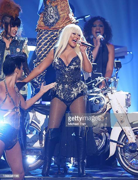 Christina Aguilera performs onstage at The 40th American Music Awards held at Nokia Theatre LA Live on November 18 2012 in Los Angeles California
