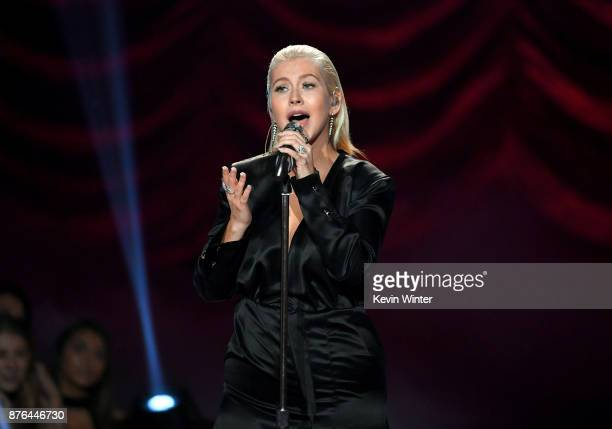 Christina Aguilera performs onstage during the 2017 American Music Awards at Microsoft Theater on November 19 2017 in Los Angeles California