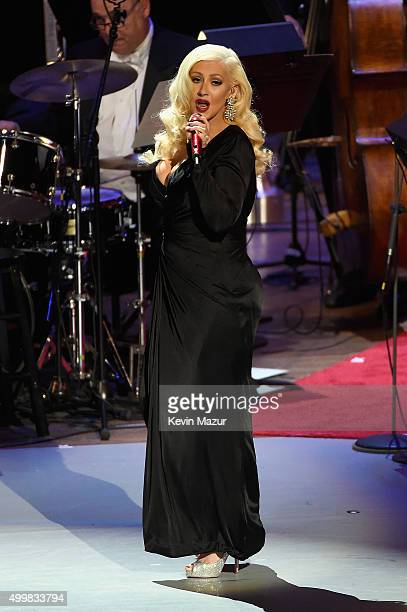 Christina Aguilera performs onstage during the Sinatra Gala with New York Philharmonic at Lincoln Center's David Geffen Hall on December 3 2015 in...