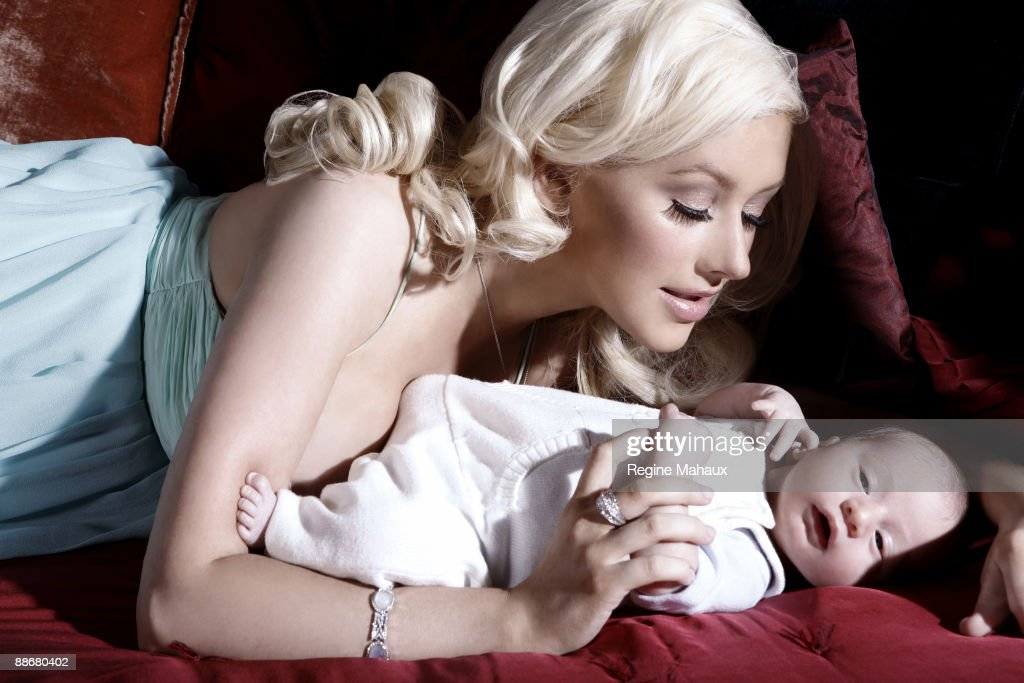 Christina Aguilera poses with her son Max Liron Bratman on February 9, 2008 in their Los Angeles, California home.