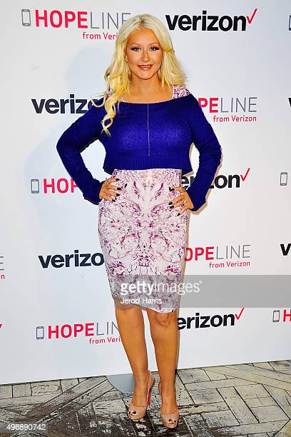 Christina Aguilera raises awareness about domestic violence with Verizon's HopeLine Program at The London Hotel on November 12 2015 in West Hollywood...