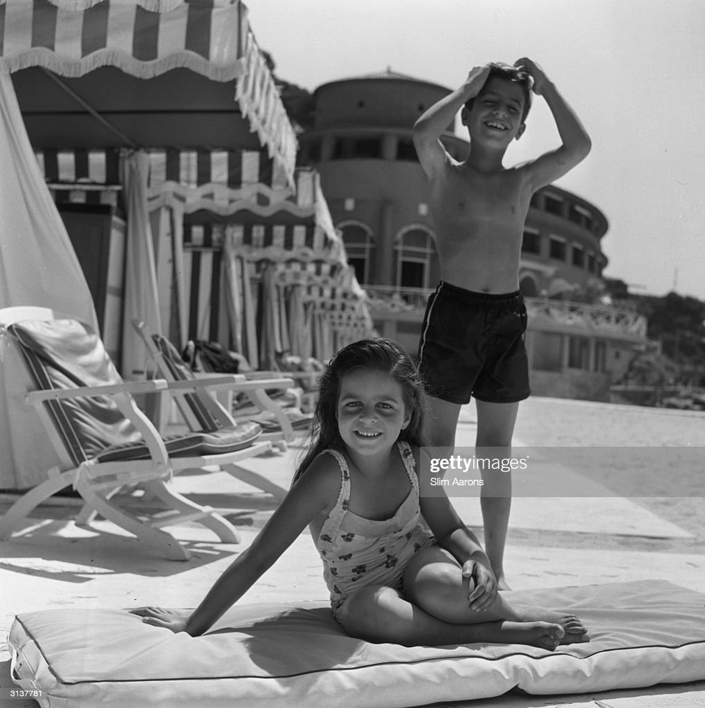 Christina (1950 - 1988) and Alexander Onassis (1948 - 1973) (who died in 1973 aged 25) enjoying the sunshine at the Monte Carlo Beach Club.