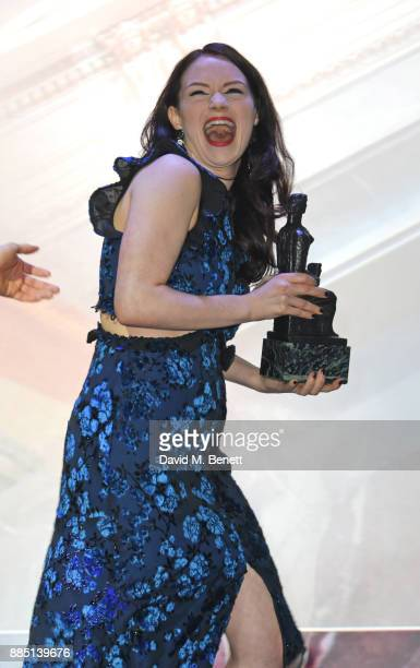 Christina Bennington accepts the Evening Standard Radio 2 Audience Award for Best Musical for 'Bat Out Of Hell The Musical' at the London Evening...