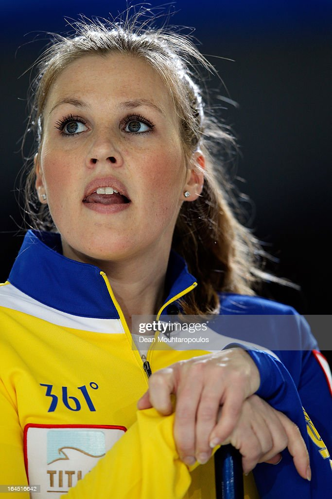 Christina Bertrup of Sweden looks on during the Gold medal match between Sweden and Scotland on Day 9 of the Titlis Glacier Mountain World Women's Curling Championship at the Volvo Sports Centre on March 24, 2013 in Riga, Latvia.