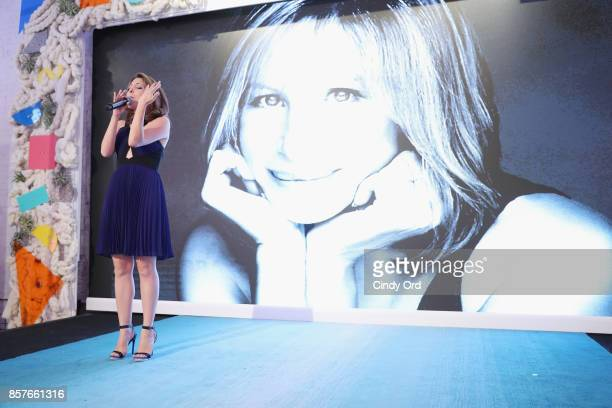 Christina Bianco performs onstage as Brit Co Kicks Off Experiential PopUp #CreateGood with Allison Williams and Daphne Oz at Brit Co on October 4...