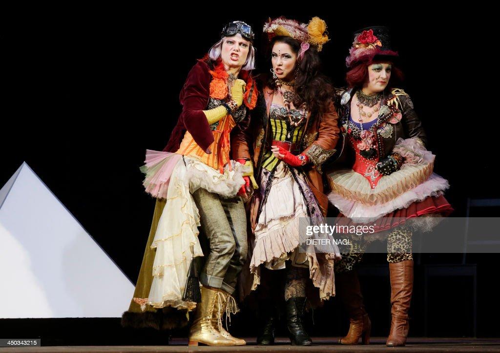 Christina Carvin Alisa Kolosova and Olga Bezsmertna perform in a dress rehearsal of Wolfgang Amadeus Mozart's opera 'The Magic Flute' on November 14...