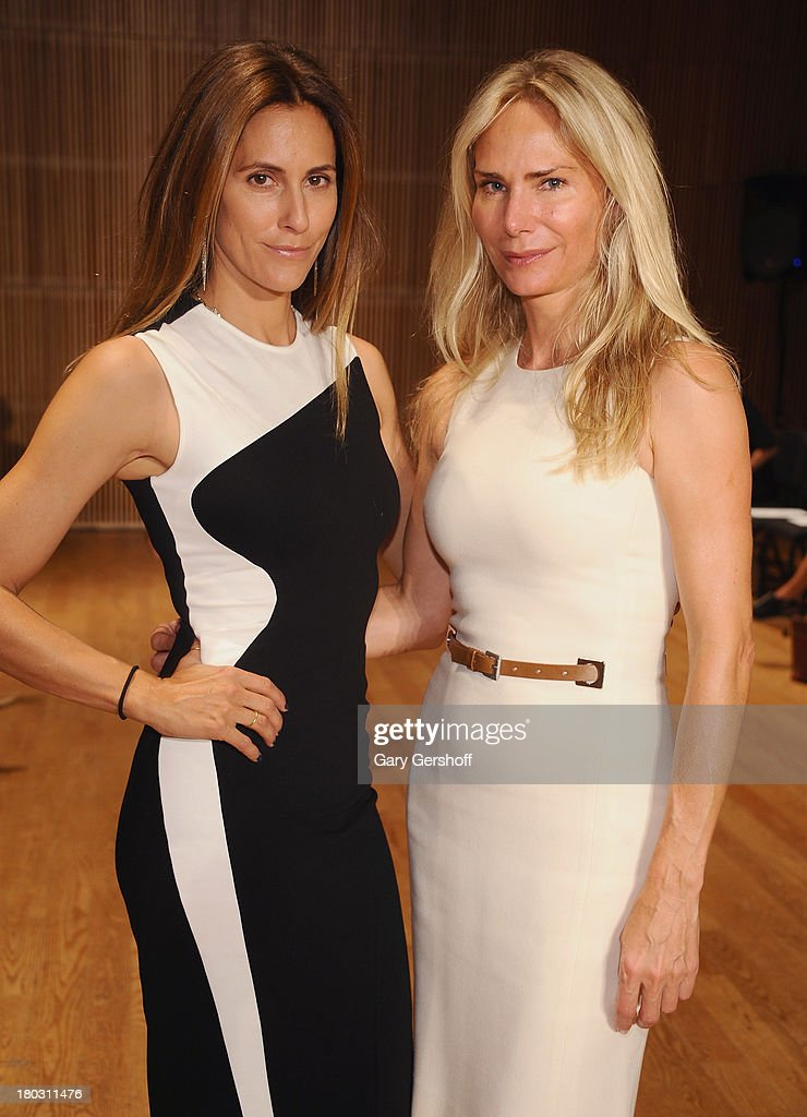Christina Cuomo (L) and Valesca Hermes attend the Douglas Hannant show during Spring 2014 Mercedes-Benz Fashion Week at DiMenna Center on September 11, 2013 in New York City.