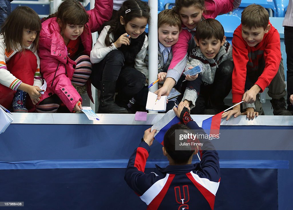 <a gi-track='captionPersonalityLinkClicked' href=/galleries/search?phrase=Christina+Gao&family=editorial&specificpeople=6719493 ng-click='$event.stopPropagation()'>Christina Gao</a> of USA signs autographs after her performance in the Ladies Free Skating during the Grand Prix of Figure Skating Final 2012 at the Iceberg Skating Palace on December 8, 2012 in Sochi, Russia.