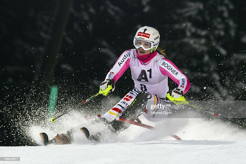Christina Geiger of Germany races down the course whilst competing in the Audi FIS Alpine Ski World Cup Slalom race on January 15, 2013 in Flachau, Austria.