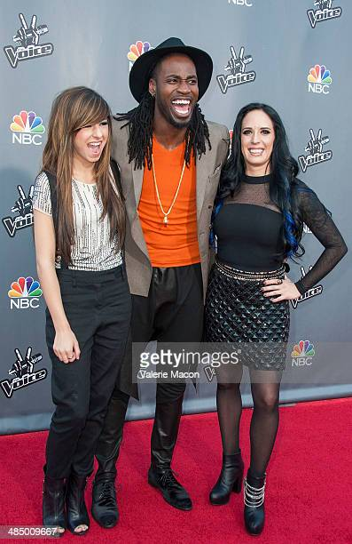 Christina Grimmie Delvin Choice and Kat Perkins arrive at NBC's 'The Voice' Season 6 Top 12 Red Carpet Event at Universal CityWalk on April 15 2014...