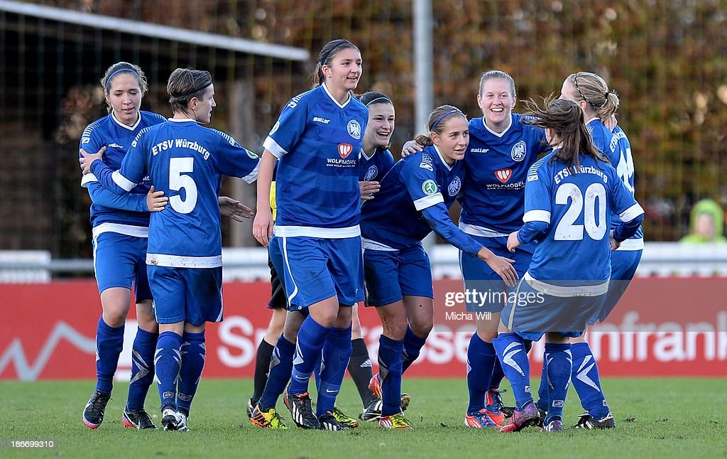 Christina Hahn (4rd R) of Wuerzburg celebrates with team-mates after scoring her teams first goal during the Women's Second Bundesliga match between ETSV Wuerzburg and SC Sand at Sportpark Herieden on November 3, 2013 in Wuerzburg, Germany.