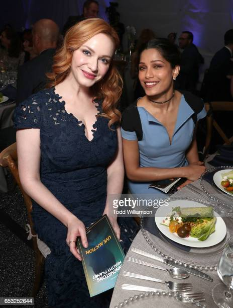 Christina Hendricks and Freida Pinto attend the UCLA Institute Of The Environment And Sustainability Celebrates Innovators For A Healthy Planet on...