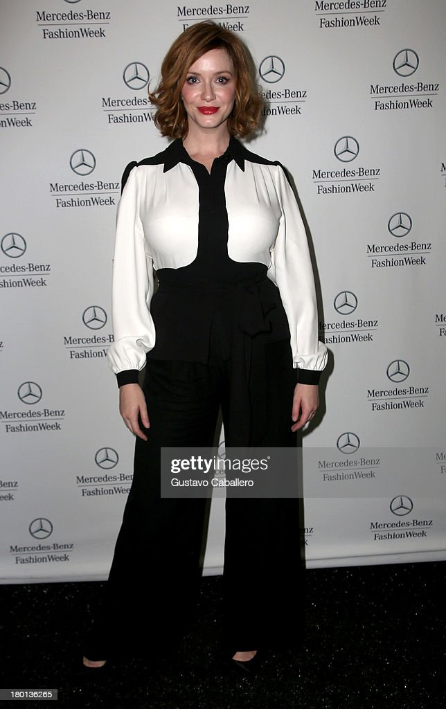 <a gi-track='captionPersonalityLinkClicked' href=/galleries/search?phrase=Christina+Hendricks&family=editorial&specificpeople=2239736 ng-click='$event.stopPropagation()'>Christina Hendricks</a> attends Day 5 of Mercedes-Benz Fashion Week Spring 2014 at Lincoln Center for the Performing Arts on September 9, 2013 in New York City.