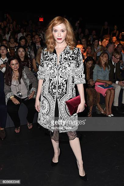 Christina Hendricks attends the Naeem Khan fashion show during New York Fashion Week The Shows at The Arc Skylight at Moynihan Station on September...