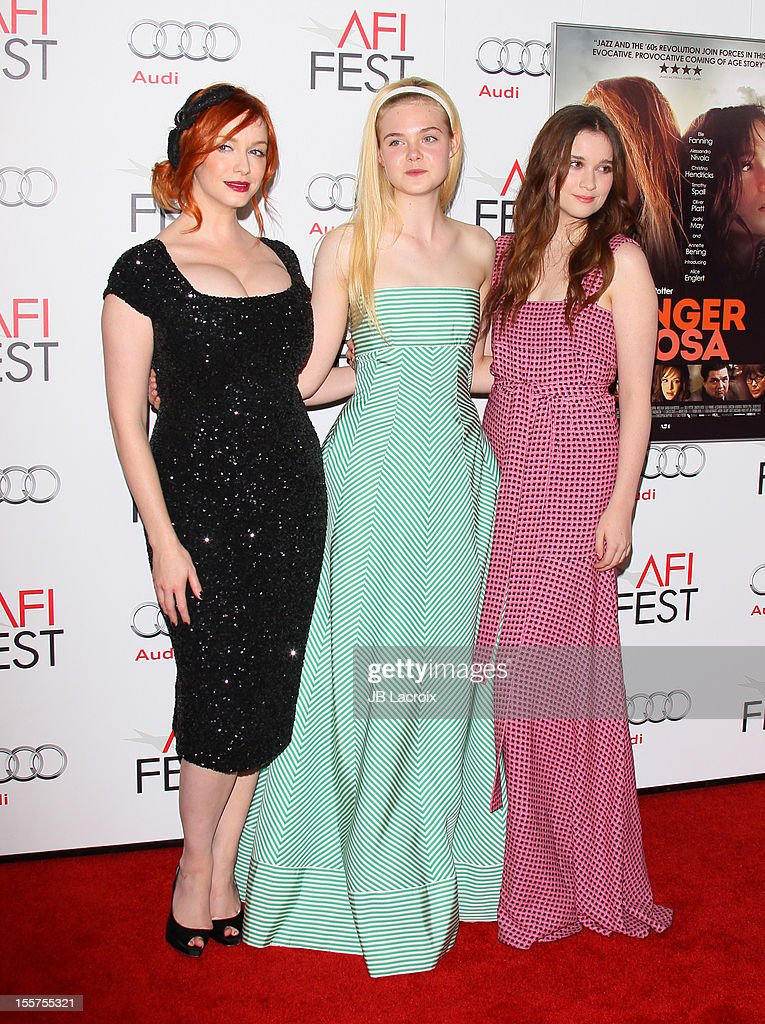 Christina Hendricks, Elle Fanning and Alice Englert attend the 2012 AFI FEST 'Ginger & Rosa' Special Screening at Grauman's Chinese Theatre on November 7, 2012 in Hollywood, California.