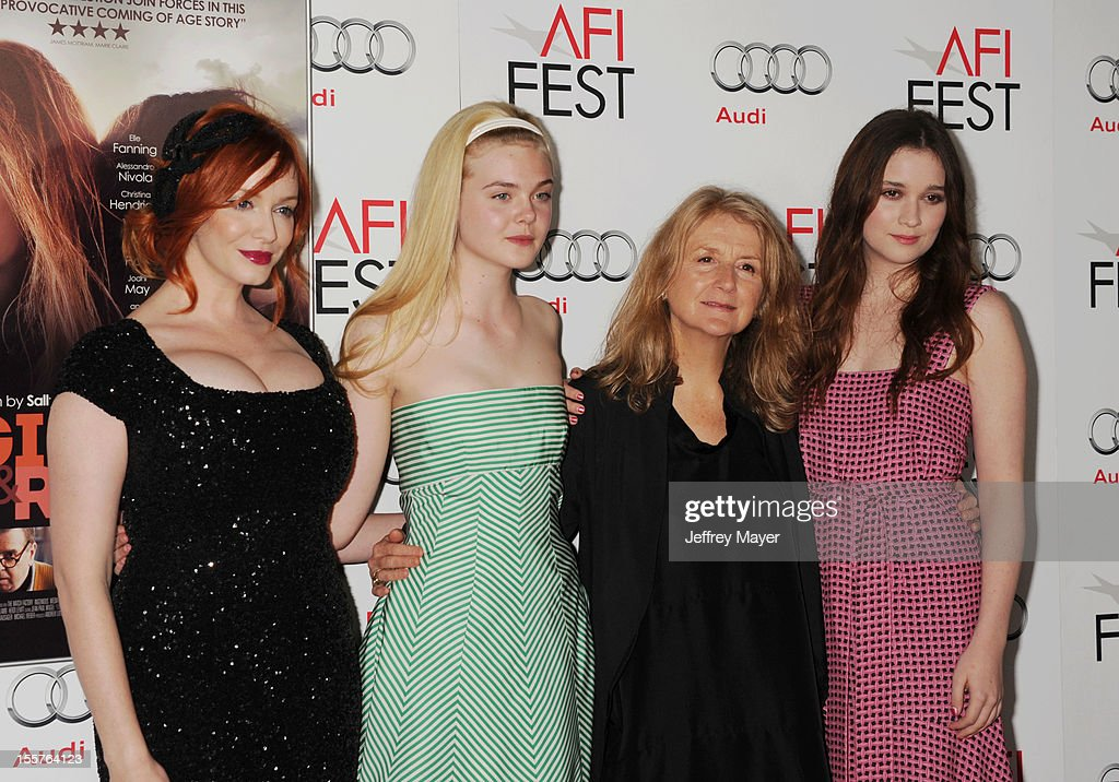 Christina Hendricks, Elle Fanning, Sally Potter, Alice Englert arrive at the 'Ginger And Rosa' special screening during AFI Fest 2012 at Grauman's Chinese Theatre on November 7, 2012 in Hollywood, California.
