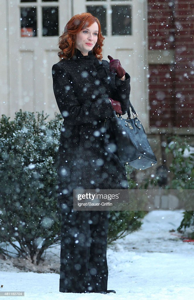 Christina Hendricks is seen on the movie set of 'I Don't Know How She Does It' on February 22 2011 in New York City