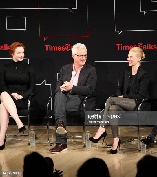 Christina Hendricks John Slattery and January Jones attend the TimesTalk A Conversation with the Cast of 'Mad Men' at The Times Center on March 20...