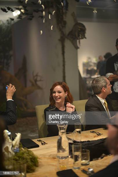 Christina Hendricks toasts Johnnie Walker Platinum Label at Santa Monica Museum of Art on October 22 2013 in Santa Monica California