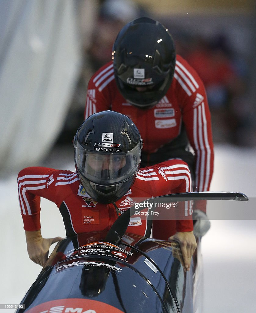 Christina Hengster (F) and Inga Versen from Austria finish in sixth place in the FIBT women's bobsled world cup, on November 16, 2012 at Utah Olympic Park in Park City, Utah.