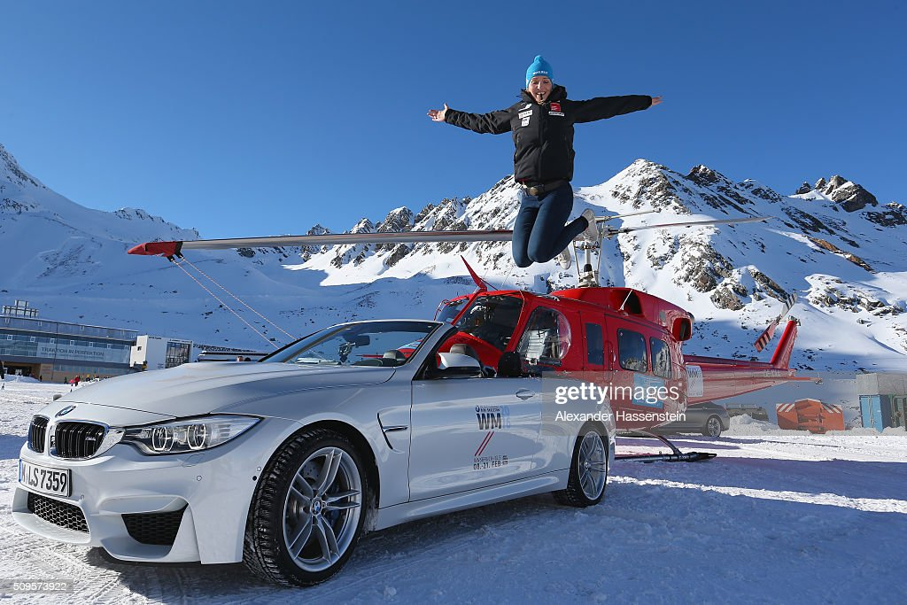 Christina Hengster jumpes during the BMW Snow Driving Experience prior to the IBSF World Championship 2016 on February 11, 2016 in Soelden, Austria.