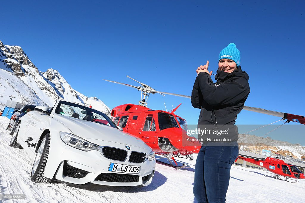 Christina Hengster poses during the BMW Snow Driving Experience prior to the IBSF World Championship 2016 on February 11, 2016 in Soelden, Austria.