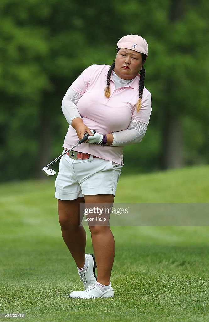 Christina Kim from the United States watches her ball land on the fifth green during the second round of the LPGA Volvik Championship on May 27, 2016 at Travis Pointe Country Club Ann Arbor, Michigan.