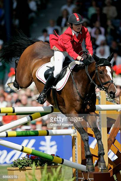 Christina Liebherr of Switzerland jumps on no Mercy in the discipline of show jump of the S16 Great Pirce of Aachen during the CHIO Aachen 2005 Grand...