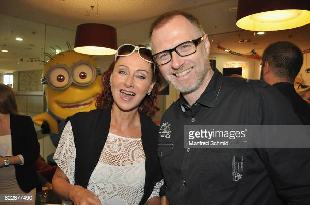 Christina Lugner and Alex List pose during the 'Wish Upon' premiere in Vienna at Lugner Lounge Kino on July 25 2017 in Vienna Austria