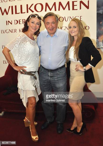 Christina Lugner Richard Lugner and Jacqueline Lugner pose during the 'Wish Upon' premiere in Vienna at Lugner Lounge Kino on July 25 2017 in Vienna...