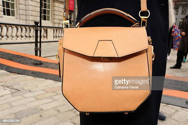 Christina Lundberg fashion desinger wearing an Alexander Wang bag at Somerset House during London Fashion Week Fall/Winter 2015/16 on February 24...