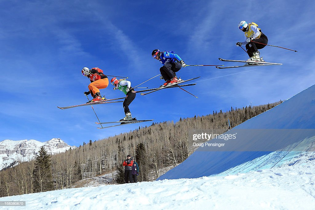 Christina Manhard of Germany, Marte Hoeie Gjefsen of Norway, Jenny Owens of Australia and Julie Brendengen of Norway compete in the quarter finals of the Audi FIS Ski Cross World Cup on December 12, 2012 in Telluride, Colorado.