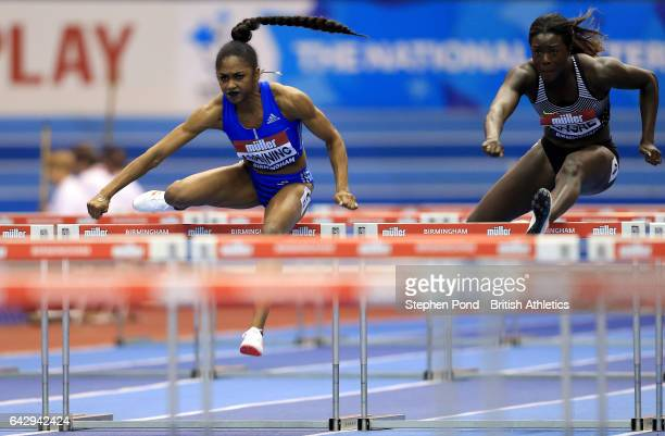 Christina Manning of USA in the Women's 60m Hurdles during the Muller Indoor Grand Prix 2017 at the Barclaycard Arena on February 18 2017 in...