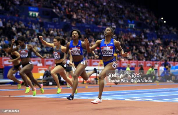 Christina Manning of USA wins the Women's 60m Hurdles final during the Muller Indoor Grand Prix 2017 at the Barclaycard Arena on February 18 2017 in...